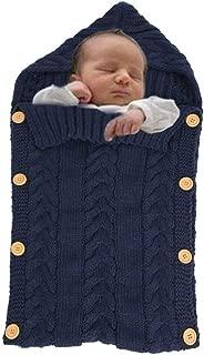 Newborn Baby Wrap Swaddle Blanket, Baby Kids Toddler Wool handmade Knit Blanket Swaddle Sleeping Bag Sleep Sack Stroller Wrap for 0-12 Month Baby