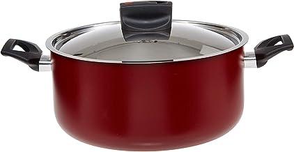 Prestige Safecook with Nonstick Casserole Cooking Pots, Red, H 11.4 x W 25.0 x D 10.4 cm, 20cm, Aluminum