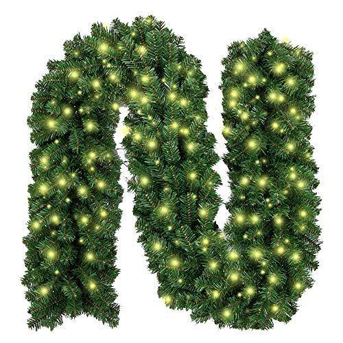 Weihnachtsgirlande mit Beleuchtung, Treer Tannengirlande Batterie Remote 2 Modus Lichterkette Weihnachten Dekoration2.7 Meter für Innen und Außen Verwendbar (DIY grün,2.7M)