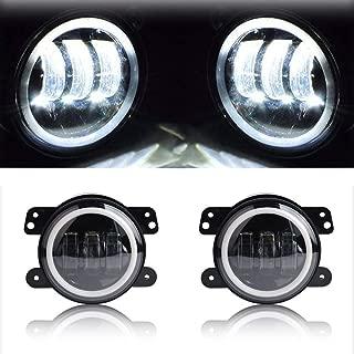 AL4X4 4inch Fog Lights with White DRL Halo Ring LED Work Lights for Jeep Wrangler 1997-2017 TJ LJ JK JKU