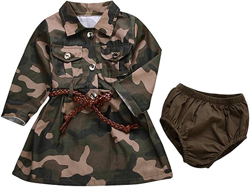 IWOKA Baby Girls Camo-Camouflage Long Sleeve Belt Skirts+ArmyGreen Shorts Set