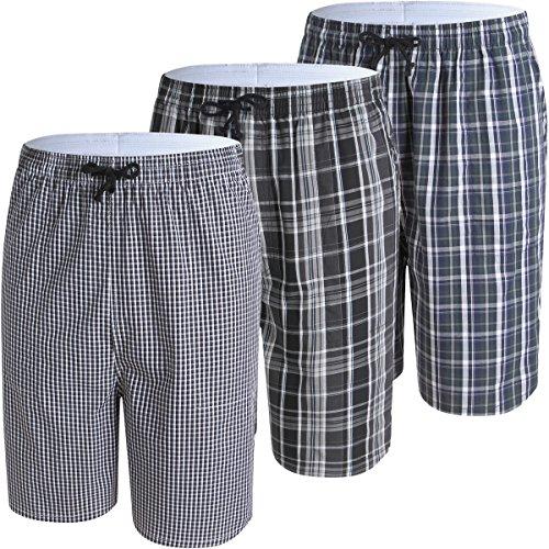 JINSHI Herren Kurz Pyjama Hose Freizeithose Schlafanzugshose Loungewear Baumwolle Sommerhose Weites Bein Shorts 3er Pack-02 Größe XXL