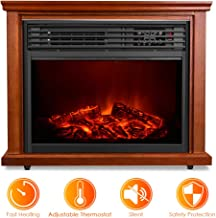 Electric Fireplace Stove - 3D Realistic Flame Infrared Heater with Remote Control, Adjustable Thermostat, Fast Heating, Overheat & Electronic Lock Protection, Space Heater Brightness Adjustable