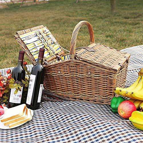 61HgijUVLRL - fang zhou Delux Rattan Picknickkorb, Doppeldeckel Classic tragbar, 4-Personen-Picknickzubehörset Ablagekörbe Grillzubehör, passend für Park Beach