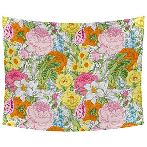 Xingruyun Gelbe Rosa Blume Tapisserie Wandbehang Kunst Für Wohnzimmer Schlafzimmer Schlafsaal Dekoration Weiche Sofa Abdeckung Tischdecke Picknickdecke Stranddecke 200x150cm