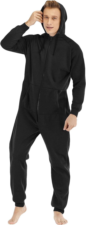 Men Hooded Onesie Pajamas Autumn Winter Casual Zipper Jumpsuit Solid Color Loose One-Piece Pajamas