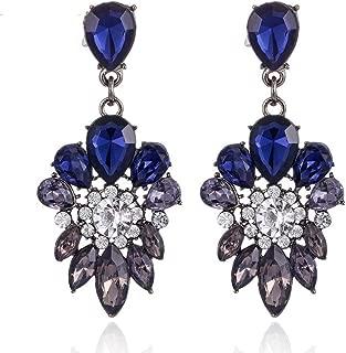 Big Stud Designer Pour Femmes Boucles d/'oreilles JOLI argent couleur zircon cristal bleu mode