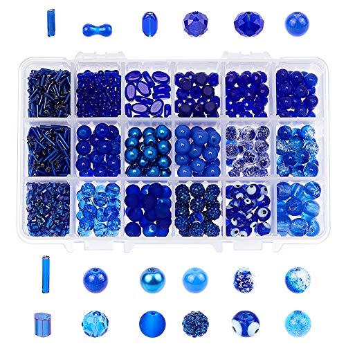 NBEADS 345 Cuentas de Cristal Rondelle Royal Azul con Tubo de 60 g, Cuentas de Cristal Azul de 6 mm, 8 mm, 9 mm, 10 mm, para bisutería con Caja de contenedor