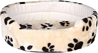 Trixie Charly Plush Dog Bed, Extra Small. 43X38cm. Beige With Dark Paw Prints.