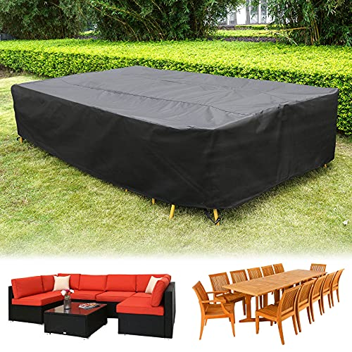 HIRALIY 320cm Fundas Impermeables para Conjuntos de Muebles de Jardín, Funda Rectangular de Tamaño Extragrande para Juego de Sofás, Funda de 420D Tela Oxford para Juego de Muebles, 320x200x68cm