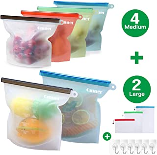 Reusable Silicone Food Storage Bags 6 PCS(2 Large 50oz+4 Medium 30oz) Airtight Seal Food Preservation Bags +Free 6 Hooks &3 Bags for Freezer Airtight Seal Vegetable,Liquid,Snack,Meat,Fruit