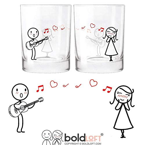 BOLDLOFT Love Me Tender Couple Drinking Glasses Girlfriend Gifts Wife For Anniversary Valentines Day