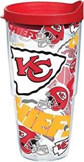 Tervis 1238951 NFL Kansas City Chiefs All Over 24 oz Tumbler with lid, Clear