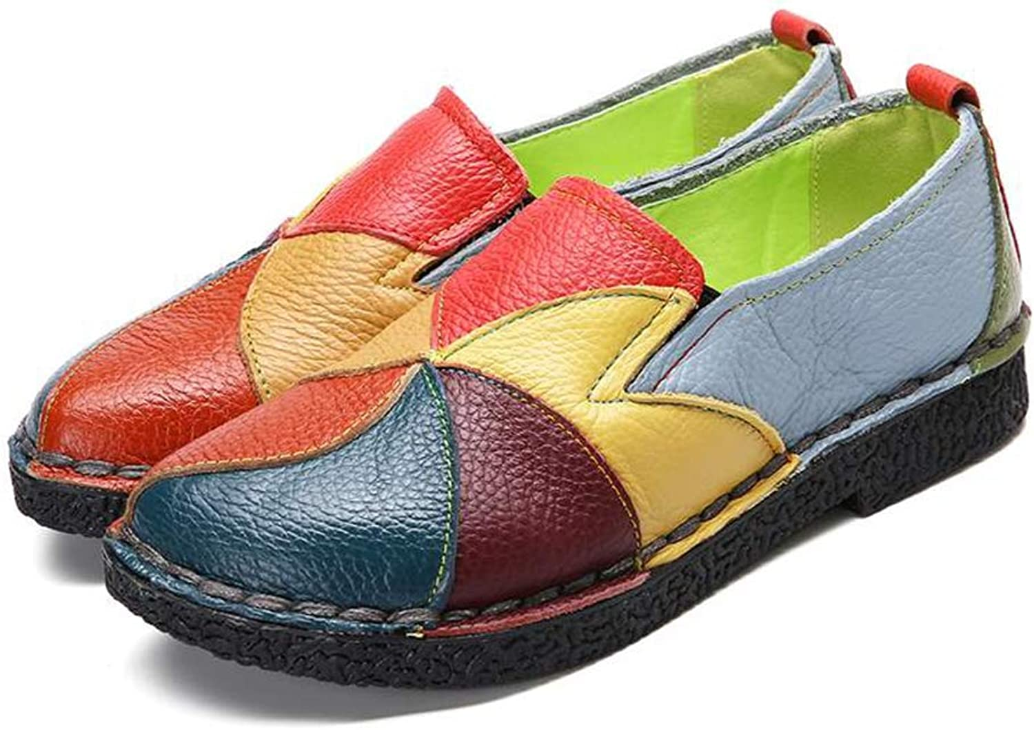 T-JULY Vintage Genuine Leather Splicing Loafers Retro Soft Sole Non-Slip Flats shoes Women Spring Summer Casual Women Flat shoes