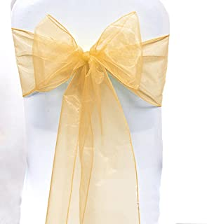 SARVAM FASHION SF New Pack of 50 Chair Decorative Organza Sashes Bow Designed for Wedding Events Banquet Home Kitchen Decoration - (50, Gold)
