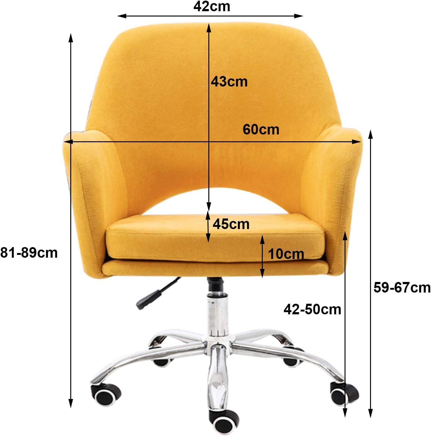LIYIN Chaise de Bureau en Lin à Dossier Moyen Chaise d'ordinateur pivotante Ergonomique avec Support Lombaire Chaise de Travail réglable en Hauteur Yellow