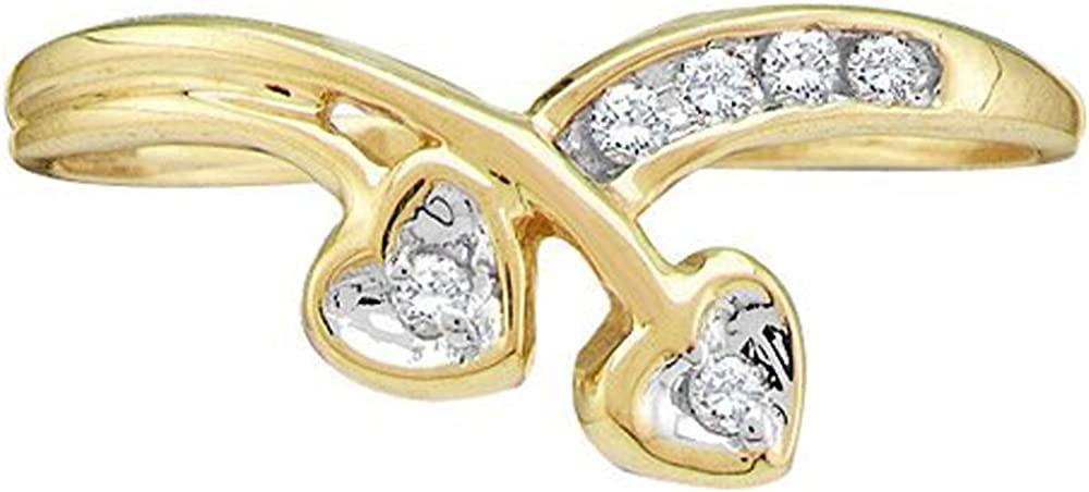 Dazzlingrock Collection 0.10 Carat (ctw) 10k Round Diamond Double Heart Ladies Fashion Promise Ring 1/10 CT, Yellow Gold