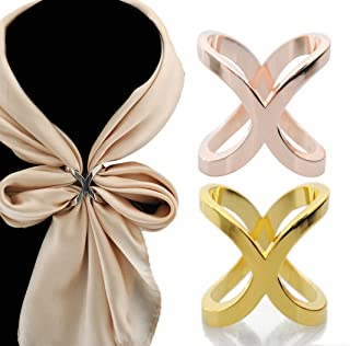 Women's Elegant X Shape Silk Scarf Clip Ring Scarves Buckle Holder for Wedding Party (Silver)