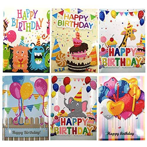 HelloCreate - Tarjetas de felicitación de cumpleaños para pintar con diamantes, diseño de dibujos animados