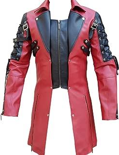 Mens PU Leather Goth Matrix Trench Coat Steampunk Gothic