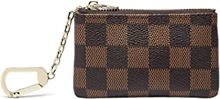 Luxury Zip Checkered Key Chain Pouch | Mini Coin Purse Wallet Card Holder with Clasp | PU Vegan Leather for Men Women