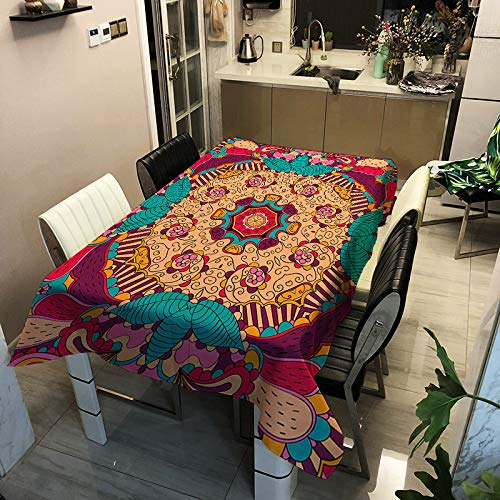 Burmese Style Polyester Waterproof Tablecloth Rectangular Thickened Anti-Scalding Table Mat Can Be Used For Multi-Table Tablecloth