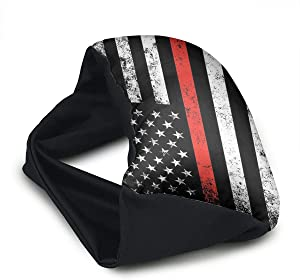 GLing-LIFE Thin Red Line Flag Portable Voyage Pillow Travel Pillow and Eye Mask 2 in 1 Neck Head Support for Airplanes, Cars, Office Naps, Camping, Trains