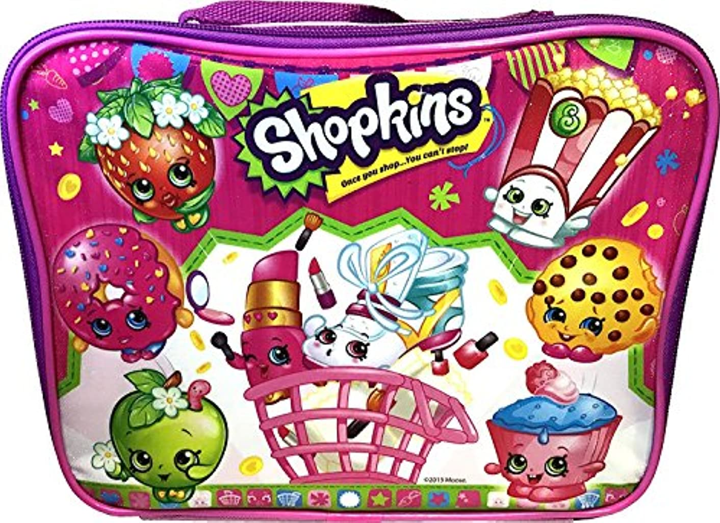 Shopkins Rectangular Lunch Kit Bag, Pink, 9.5x7.5x3.5 Inches