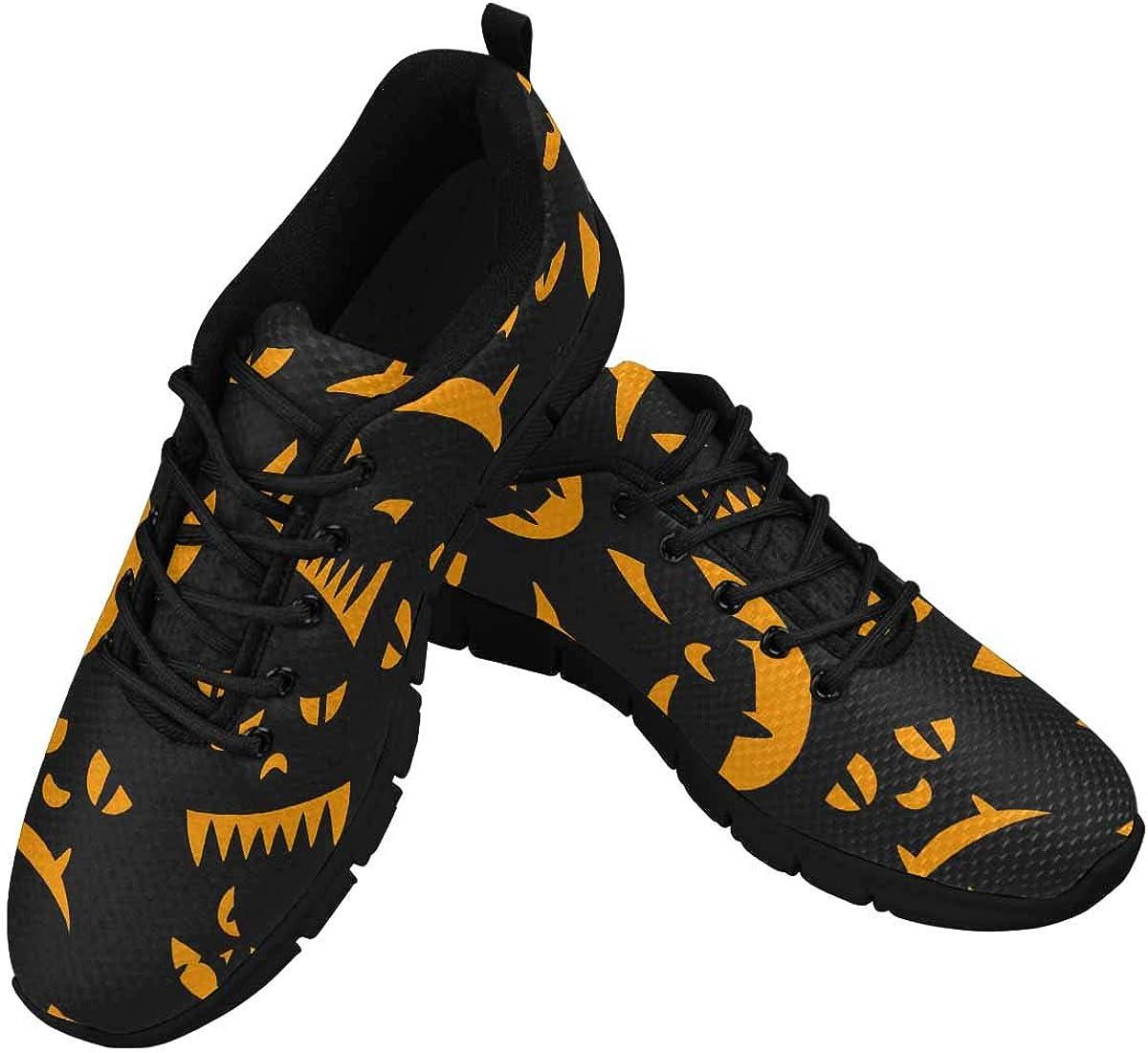 INTERESTPRINT Halloween Ghost Face Women's Athletic Walking Shoes Comfort Mesh Non Slip