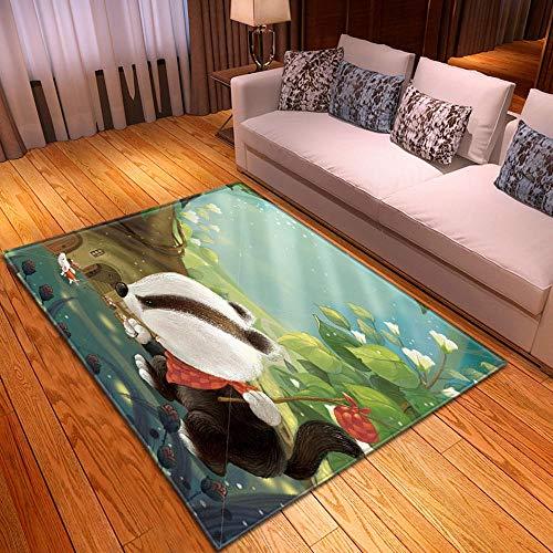HJKGSX Alfombra De Salón Ardilla Animal Alfombra Pelo Corto Antideslizante Dormitorio Cuarto de los niños Fácil de Manejar 120 x 160 cm