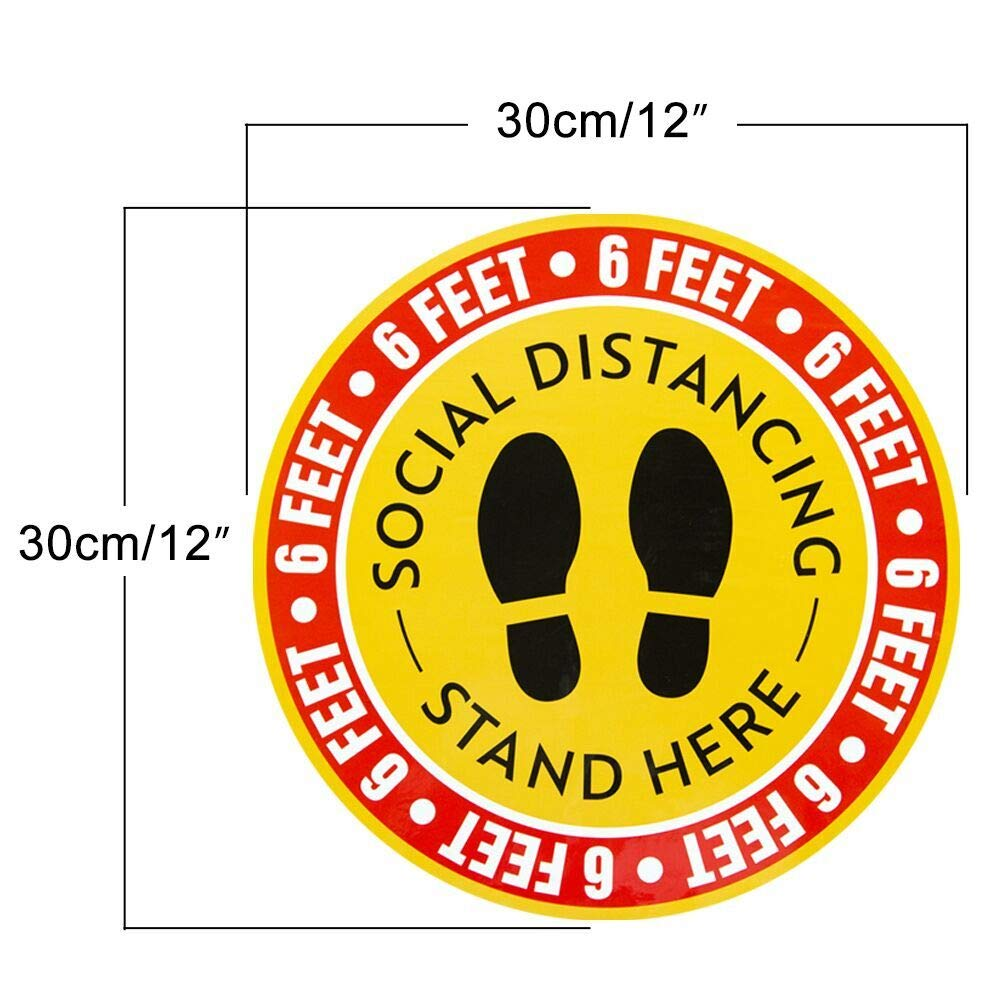 Social Distancing Marker Floor Decal 10Pack Keep Your Distance Stickers Keep 6ft in Between Distance Safety Floor Decal for Business,Office,Mall,Supermarket,Bank,Pharmacy,Queue,Hospital/&More 8inch