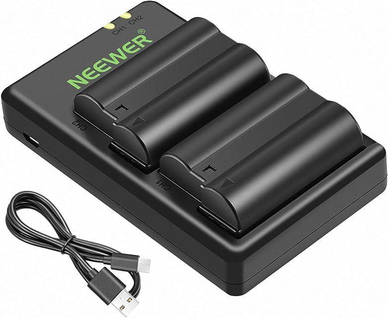 Neewer Nikon EN-EL15 Doble Cargador con 2 Baterías de Repuesto (2100mAh 100 % Compatible con la Serie Nikon 1 V1 D7100 D7000 D7200 D750 D810 D610 D800 D600 D800E D810A) - Negro