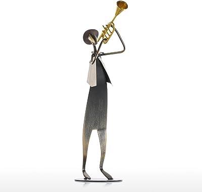 Tooarts Cowboy Band Trumpet Playing Rock /&Roll Pop Metal Iron Sculpture Handmade