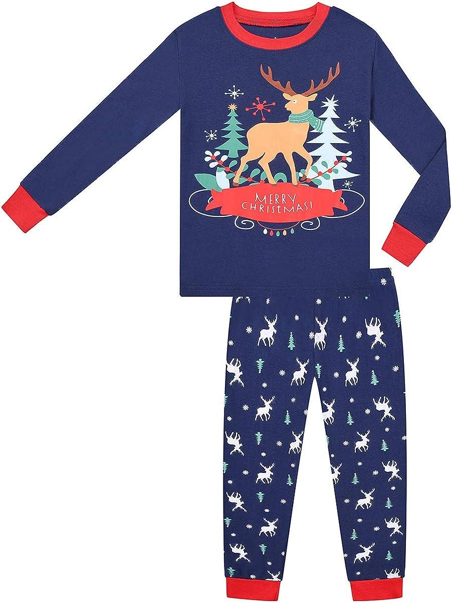 Christmas Pajamas Boys Girls Merry Christmas Late Night Elk pjs PJs Gift Set (Late Night Elk,6)
