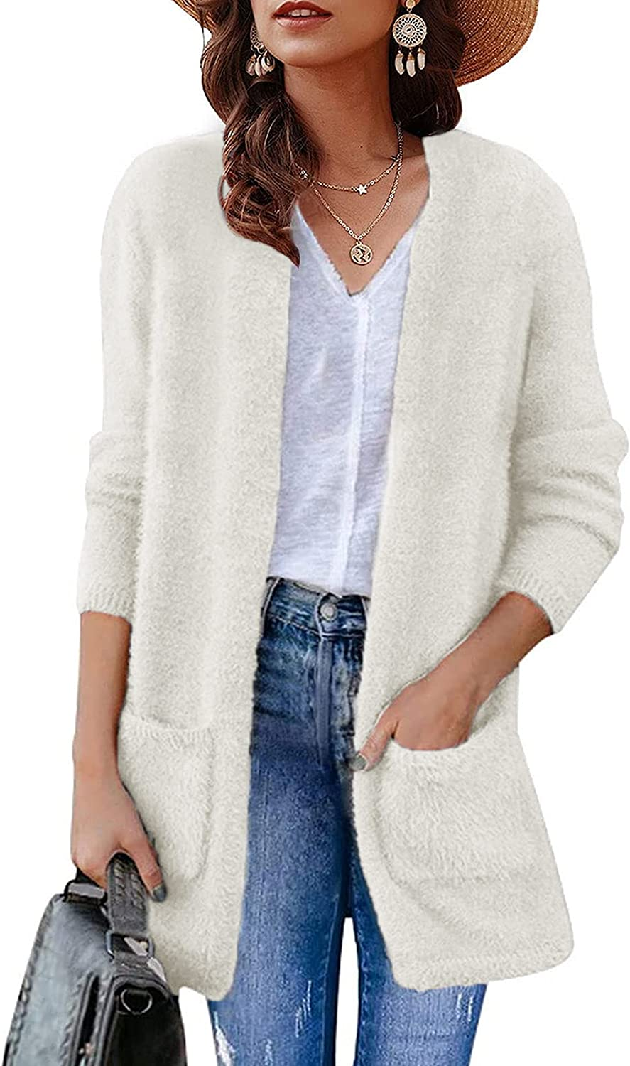 ZESICA Women's Fuzzy Cardigan Long Sleeve Open Front Casual Sweater with Pockets