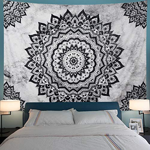 Black and White Tapestry Mandala Tapestry Bohemian Flower Wall Tapestry Psychedelic Hippie Tapestry Wall Hanging for Bedroom (M- 59.1' × 51.2', Black & White)