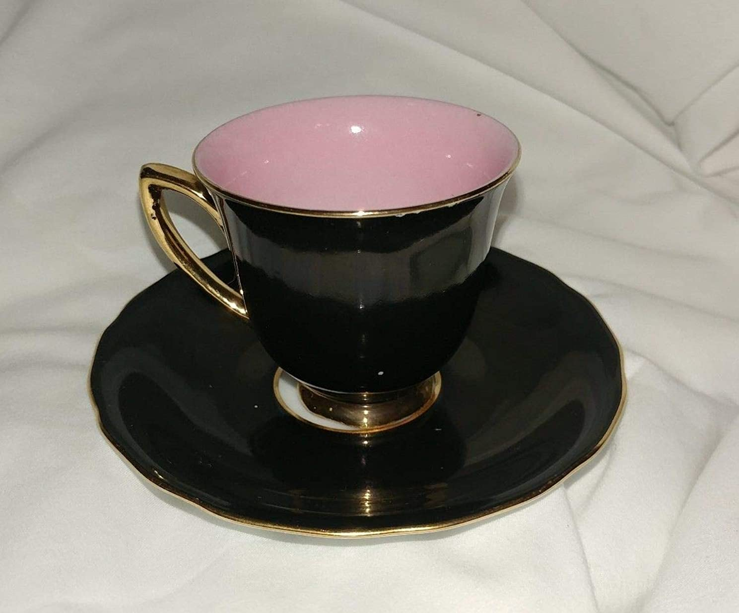 RGK Czechoslovakia Vintage Demitasse Cup & Saucer Black & Pink with Gold Trim
