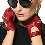 Elma Tradional Women's Italian Nappa Leather Gloves Motorcycle Driving Open Back (M, Burgundy)