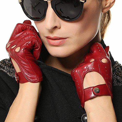 Elma Tradional Women's Italian Nappa Leather Gloves Motorcycle Driving Open Back (L, Burgundy)