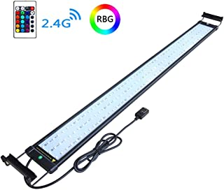 COODIA Aquarium Hood Lighting Color Changing Remote Controlled Dimmable RGBW LED Light for Aquarium/Fish Tank, Extendable (for Fresh and Salt Water)