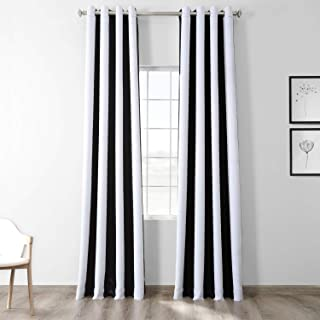 HPD Half Price Drapes BOCH-KC43-84-GR Stripe Grommet Blackout Room Darkening Curtain (1 Panel), 50 X 84, Awning Black & Fo...
