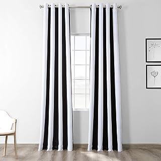 HPD Half Price Drapes BOCH-KC43-108-GR Stripe Grommet Blackout Room Darkening Curtain (1 Panel), 50 X 108, Awning Black & ...