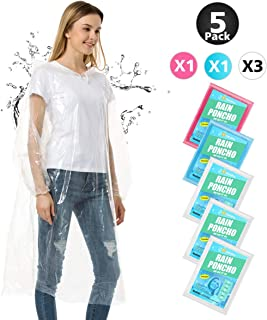 Rain Ponchos for Adults Disposable - Thick Emergency Waterproof Rain Poncho with Drawstring Hood Raincoat for Men Women Plastic Clear Rain Gear for Disney Hiking Travel Concerts
