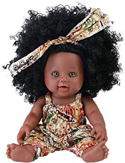 TUSALMO 2019 Newest 12 inch Lifelike Silicone Vinyl Newborn Baby Dolls, African American Baby Black Dolls, give for Kids and Girl Holiday Birthday Gift, African Black Dolls, Reborn Doll.(Brown)
