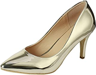 Cambridge Select Women's Classic Pointed Toe Comfort Stiletto Mid Heel Pump