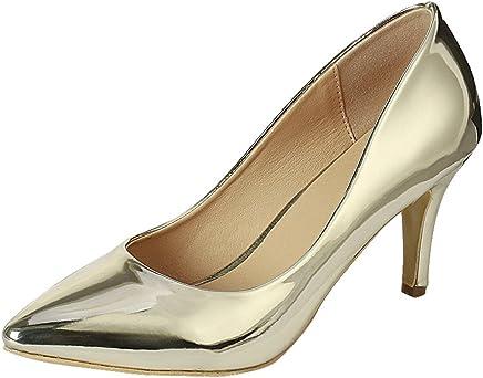 Cambridge Select Women's Classic Pointed Toe Comfort Stiletto Mid Heel Pump