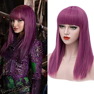 Mersi Long Purple Wigs for Kids Straight Cosplay Wig Anime Costume Party Wig S037