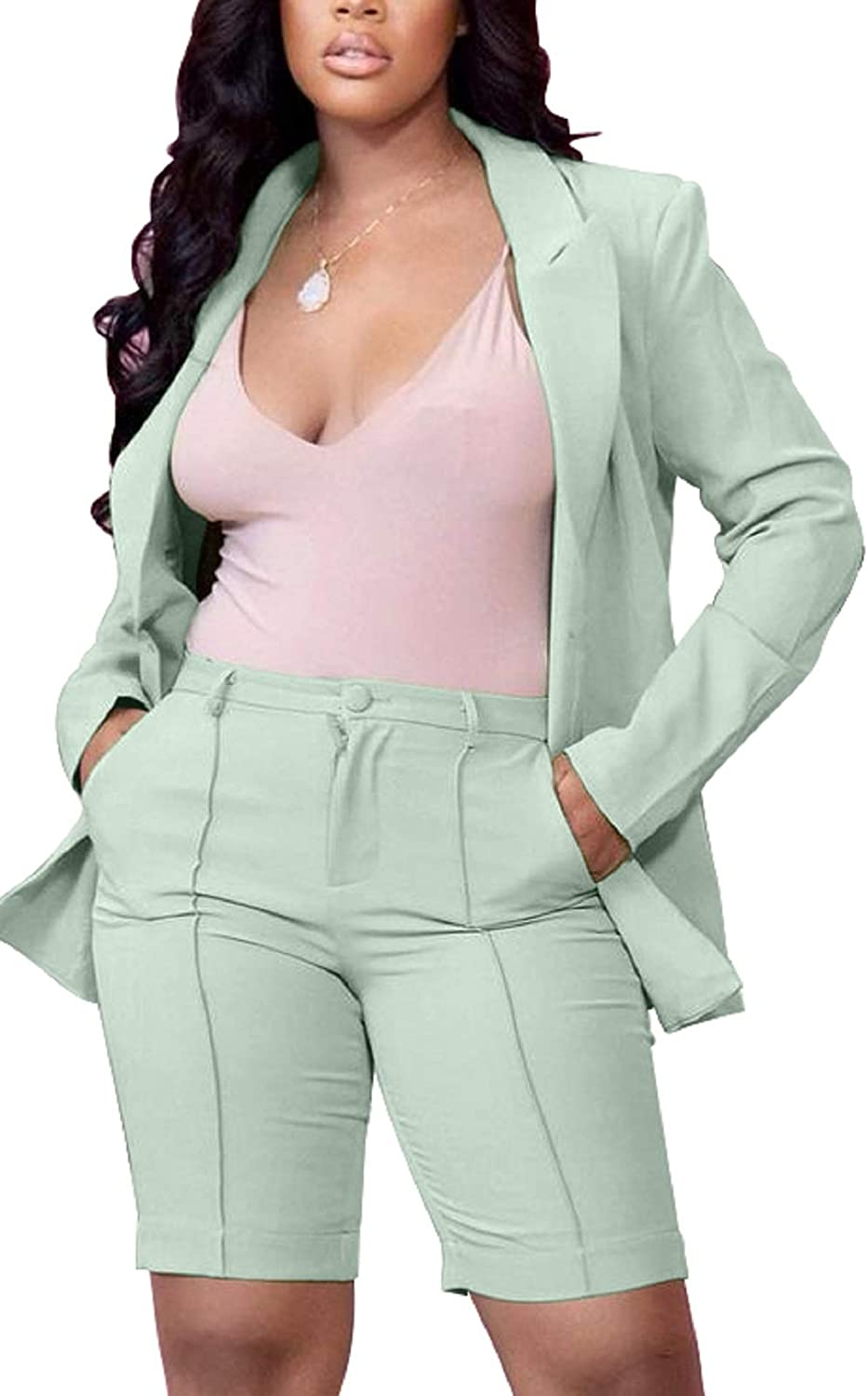 Women 2 Piece Shorts Outfits Plaid Short Sleeve Blazer Jacket and Shorts Casual Business Suits Set