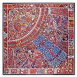 N/D Plato de Porcelana Azul y Blanco Retro Bufanda de Marca 130cm Sarga Bufanda de Seda 100% Bufandas cuadradas para Mujer Chal37