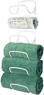mDesign Modern Decorative Six Level Bathroom Towel Rack Holder & Organizer, Wall Mount - for Storage of Bath Towels, Washcloths, Hand Towels - White